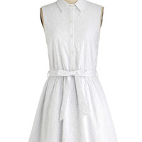 ModCloth Short Sleeveless Shirt Dress Fresh Field of Daisies Dress