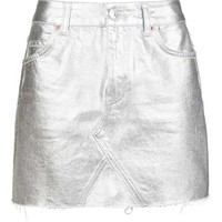 MOTO Silver Coated Mini Skirt