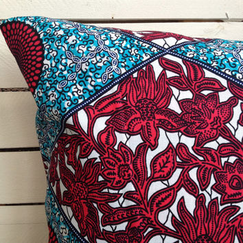 Hot Pink/Red and Blue, Cushion pillow cover,scatter cushion, African wax print  (17 inch) Blue decorative pillow
