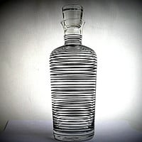 Silver Cocktail Decanter  - Art Deco Czech - Sterling Silver Bands on glass - unusual, top quality, retro modernist ,early modernism