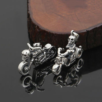 Hot Sale Brand 100% 925 sterling silver necklace pendant for women or men Harley Motorcycle Skull Pendant fine jewelry GP25