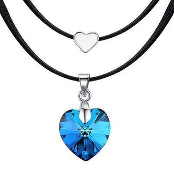 Multi-layered Crystal Heart Police Support Necklace