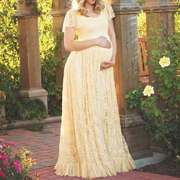 Pregnant Women Dress Sexy Lace Crochet Maxi Long Dress