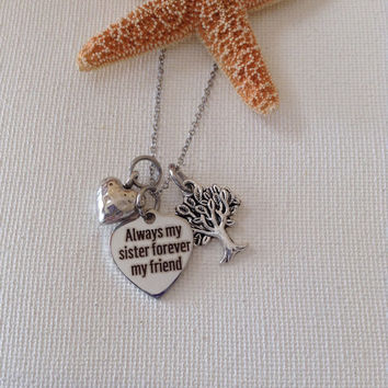 Sister necklace, always my sister, sisters, soul sisters, best friends, gifts for sisters, sis necklace, sister gifts