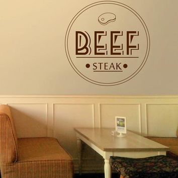ik2167 Wall Decal Sticker Beef steak restaurant snack stained glass window