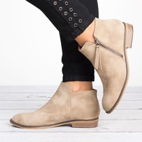 Lancer Tassel Ankle Booties - Taupe
