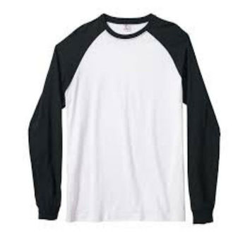 MEN'S BLACK & WHITE LONG SLEEVE BASEBALL T-SHIRT
