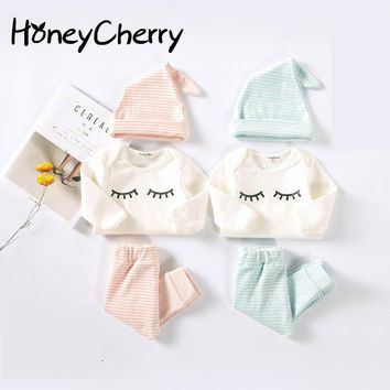17 New Baby Romper And Cotton Eyelash Three Piece Newborn Baby Girl Clothes Baby Boy Clothing Set Girls Clothes