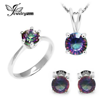Women 925 Sterling Silver 4 piece Mystic Topaz Pendant , Earrings And Ring Gift Set