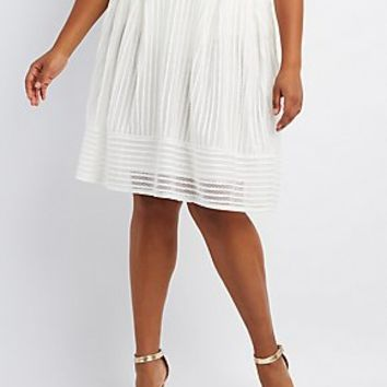 PLUS SIZE SHADOW STRIPE FULL MIDI SKIRT