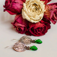 Cut wood copper earrings with vintage glass green leaves / Embossed copper dangling metalwork earrings / Bohemian jewelry
