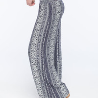 Full Tilt Ethnic Print Womens Palazzo Pants Blue Combo  In Sizes