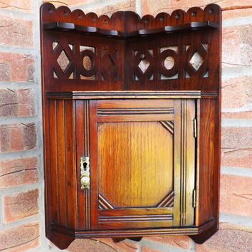 Antique Hanging Corner Cupboard, Kitchen Storage, Spoon Rack with Curio Cabinet, Bathroom Display, Spice Rack Carved Shelf, Small Furniiture