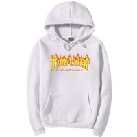 """Thrasher""Men and women with the flame hooded couples sweater"