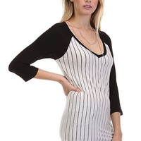 Women Casual Pin Striped Solid V-Neck 3/4 Sleeve Tunic Baseball Tee Shirt Raglan Top