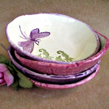 Ceramic Prep Bowls Set of  FOUR Dragonfly style