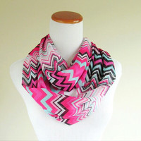 Pink infinite chevron Chiffon Scarf with black, aqua, and white