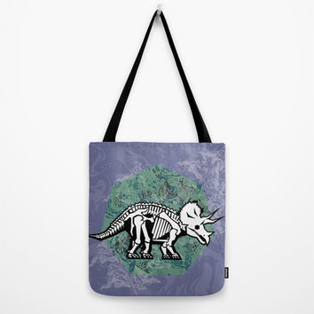 Triceratops Fossil Tote Bag by chobopop | Society6