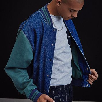 BDG Colorblocked Denim Letterman Varsity Jacket | Urban Outfitters