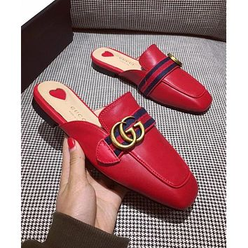 GUCCI Popular Women Personality Blue Red Stripe Metal Letter Buckle Half Slipper Sandals Shoes Red I-ALS-XZ