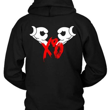 DCCKG72 The Weeknd Logo Xo Kisses Red Hoodie Two Sided