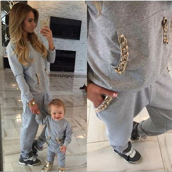 Hot Sale Autumn Stylish Casual With Pocket Chain Sportswear Set [6572701959]