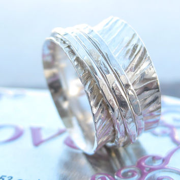 Hand hammered sterling silver triple spinner ring wedding band