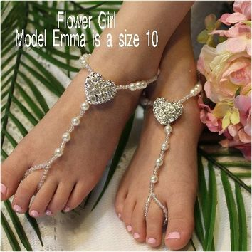 HEART flower girl barefoot sandals