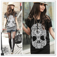 Skull Print Lace Sleeve Loose Top