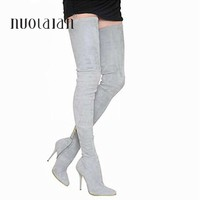 2018 Brand Autumn Winter Women Boots Long Stretch Slim Thigh High Boots Fashion Over the Knee Boots High Heels Shoes Woman