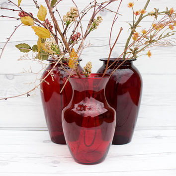 Vintage Set of 3 Tall Red Glass Wedding Vases | Instant Collection | Wedding Centerpieces