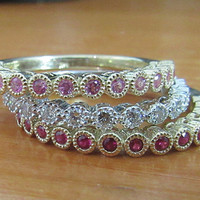Anniversary Rings, Diamond, Ruby, Pink Sapphire, 3 Rings 14K White and Yellow gold