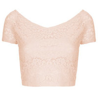 Lace Bardot Crop Top - Tops  - Clothing