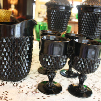 Vintage Black Glassware Tiara Diamond Point Cameo Pitcher 4 Goblets Drinking Sets Indiana Glass Halloween Holidays Goth Decor Cocktails