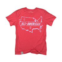 All American: Tri-Blend Short Sleeve T-Shirt in Tri Red & White