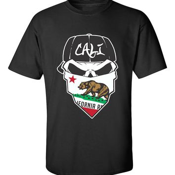 Skull Cali Bandana Cali Life California Republic Bear West Coast T-Shirt