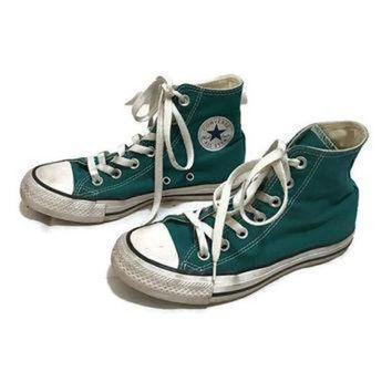 CREYUG7 Vintage KIDS Converse All Star Low Tops TEAL chuck Taylors Hipster Boho boys size 3 gi