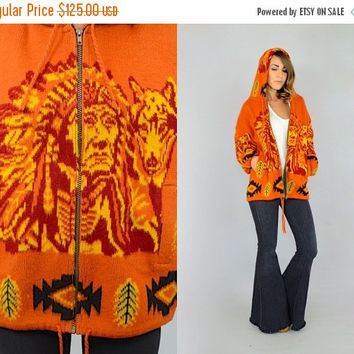 SALE Indian Chief + Wolf Hooded Sweater