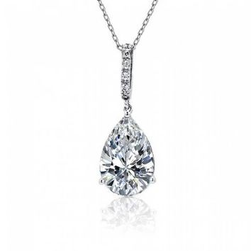 5CT Teardrop Shape Solitaire CZ Pendant Necklace Prom Sterling Silver