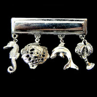 Charms Bar Pin Seahorse Dolphin Palm Tree Earth Silver Tone