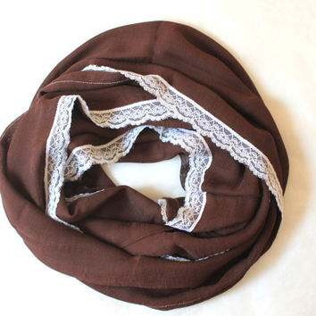 brown lace scarf,infinity scarf, scarf, scarves, long scarf, loop scarf, gift