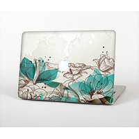 The Vintage Teal and Tan Abstract Floral Design Skin Set for the Apple MacBook Air 13""