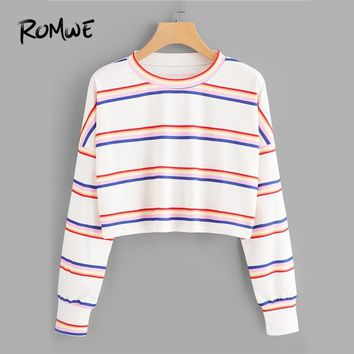ROMWE Drop Shoulder Striped White Tee Ladies Casual Autumn Crop Tops O-Neck Long Sleeve Pullovers Woman Spring New Style T Shirt