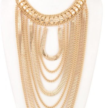 Draped Mix Chain Collar Necklace Set