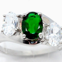 2 Carat Emerald With Zirconia Ring .925 Sterling Silver Rhodium Finish White Gold Quality