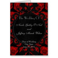 Gothic Red Roses Victorian Wedding Program Greeting Card