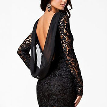 Long Sleeve Backless Lace Chiffon Bodycon Mini Dress