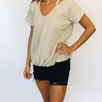 Cut Sleeve Top - Oatmeal