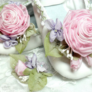Fairy Princess Ballerina Shoes Roses Ribbon Work Flower Girl Wedding