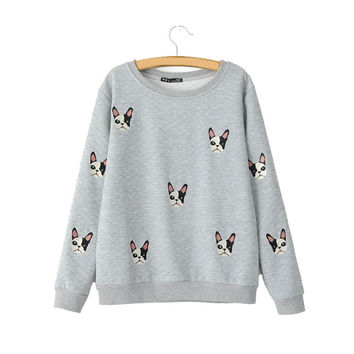 Women cute dog pattern patches pullovers autumn style long sleeve sweatshirts feminine casual street wear tops SW787